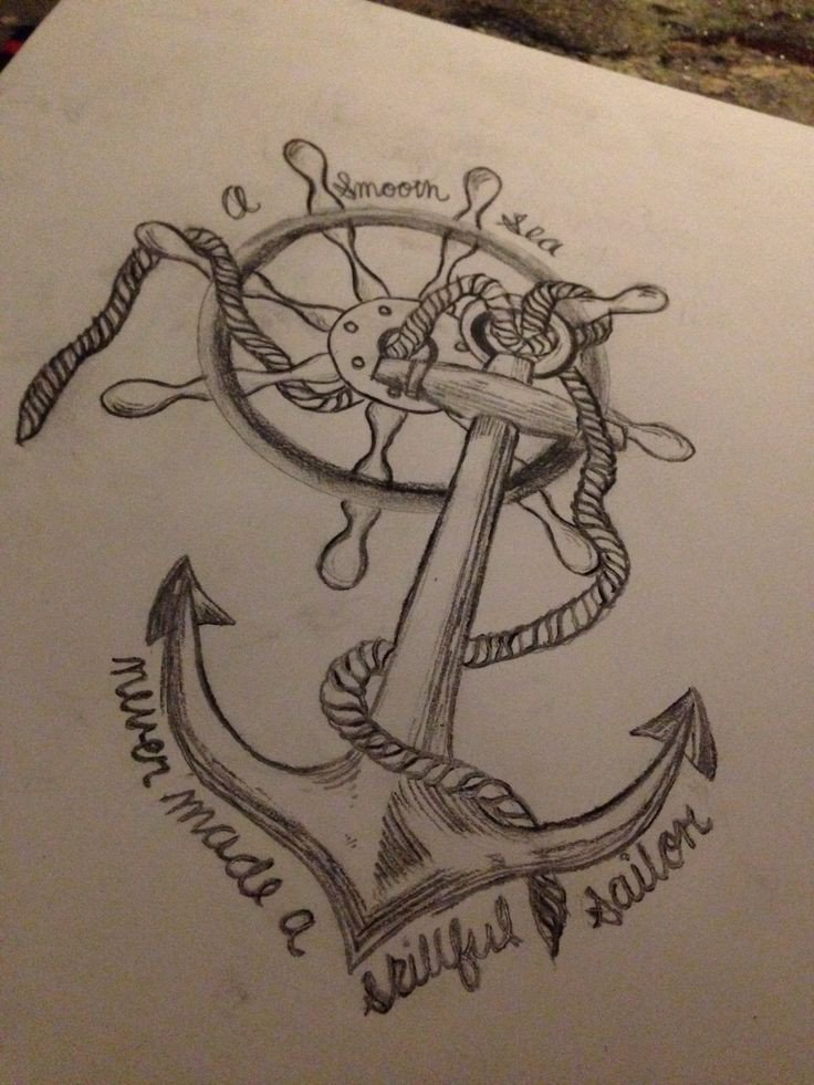 Beautiful Drawings Of Love Tattoo Anchor Wheel Quote Love A soft Sea Never Made A