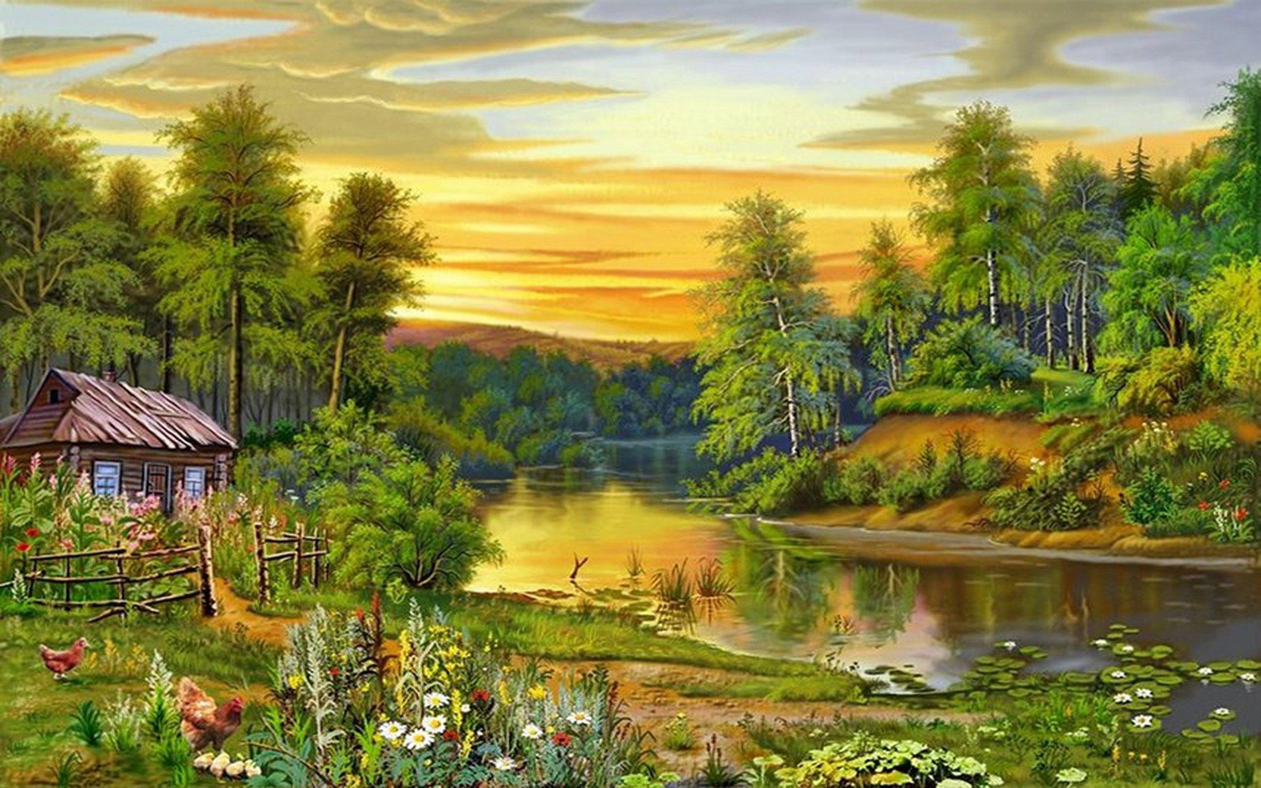 Beautiful Drawings Of Nature Beautiful Landscape Nature Trees River House