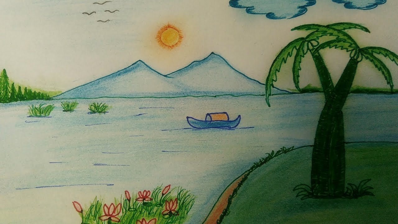 Beautiful Drawings Of Nature Beautiful Nature Drawing Step by Step Simple Painting