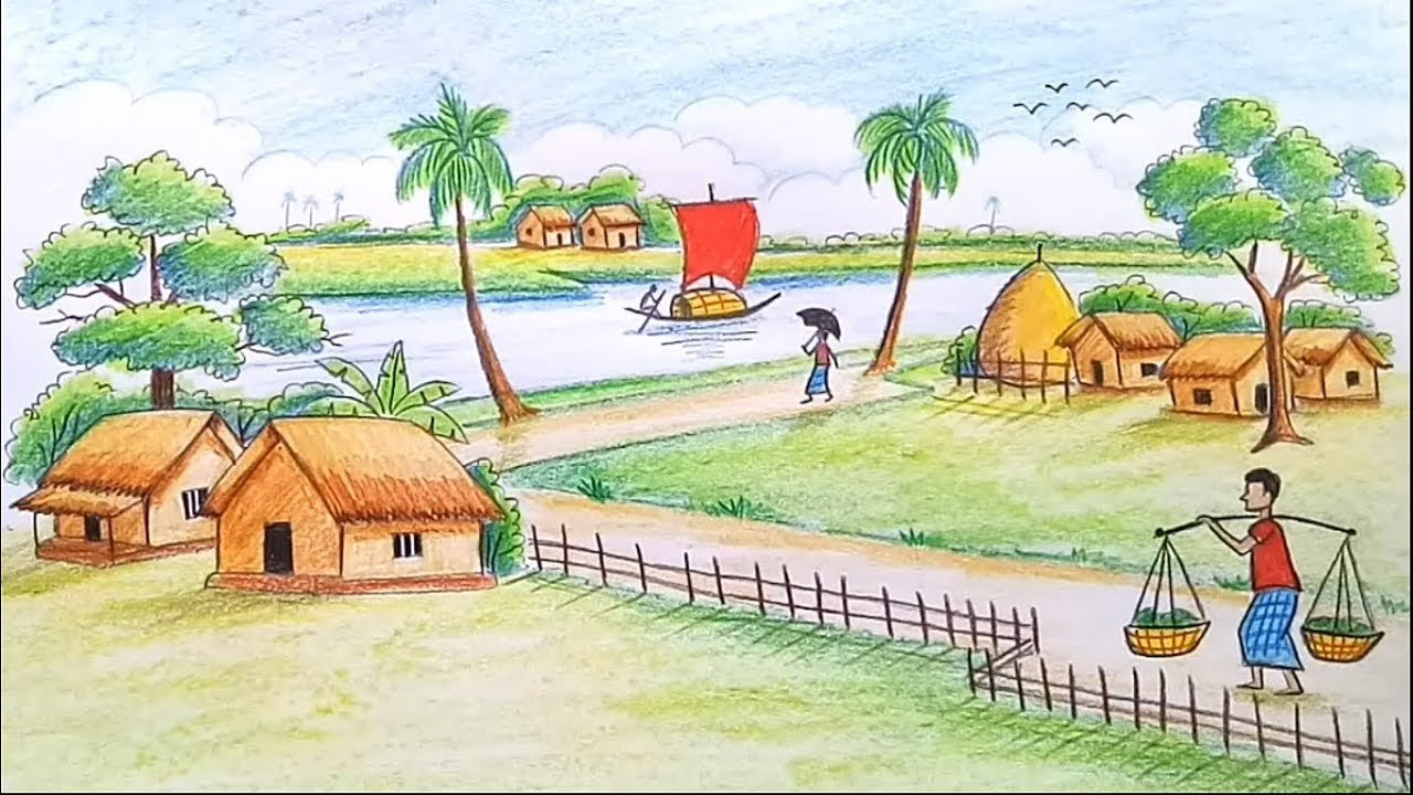 Beautiful Drawings Of Nature How to Draw A Scenery Of Beautiful Nature Landscape Step