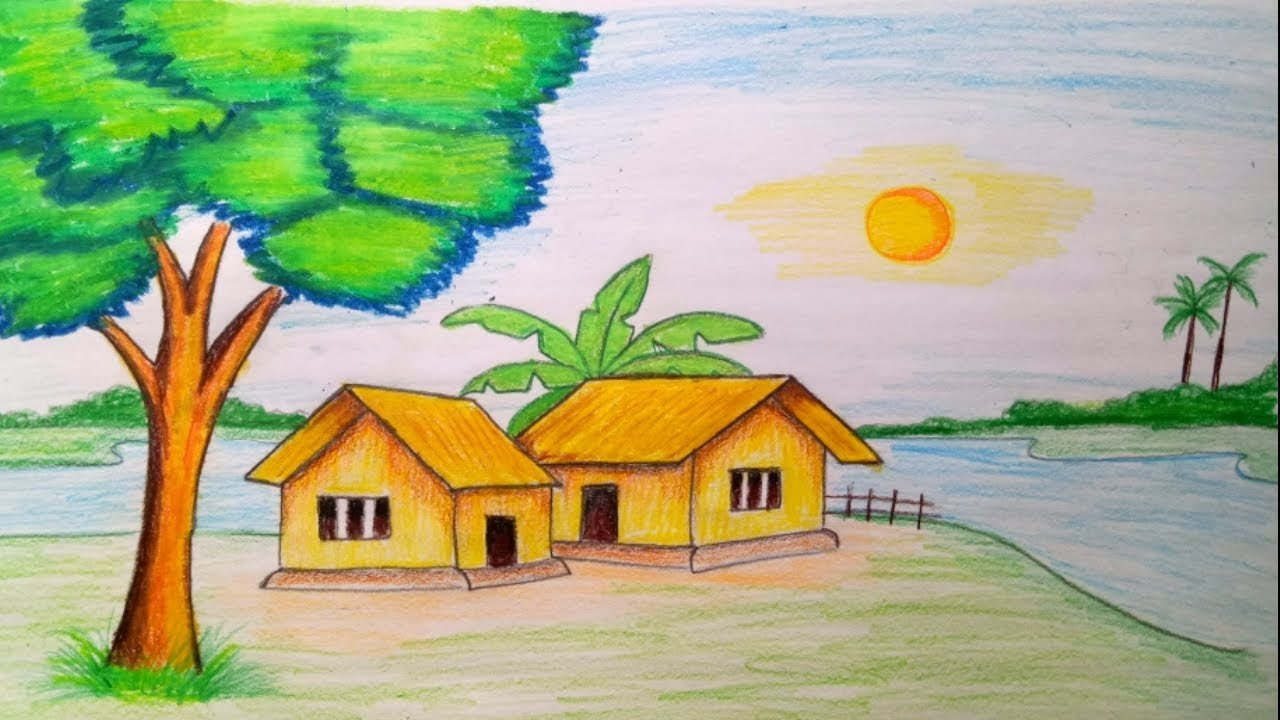 Beautiful Drawings Of Nature How to Draw Landscape Scenery Of Beautiful Nature Step