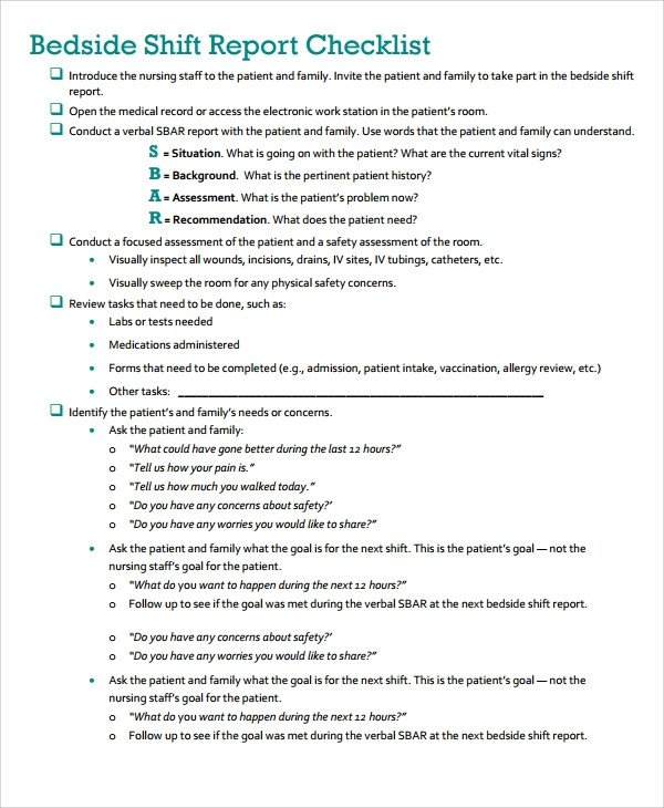Bedside Shift Report Template 10 Shift Report Templates Word Pdf Pages