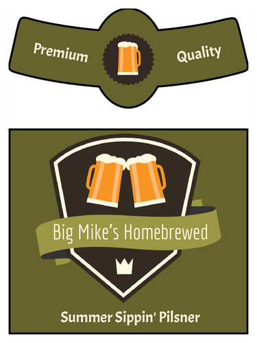 Beer Bottle Label Template Summer Sippin Pilsner Traditional Beer Bottle Label