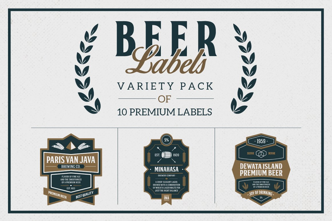 Beer Label Template Illustrator Premium Beer Labels Logo Templates On Creative Market