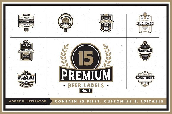 Beer Label Template Illustrator Premium Beer Labels No 2 Logo Templates Creative Market