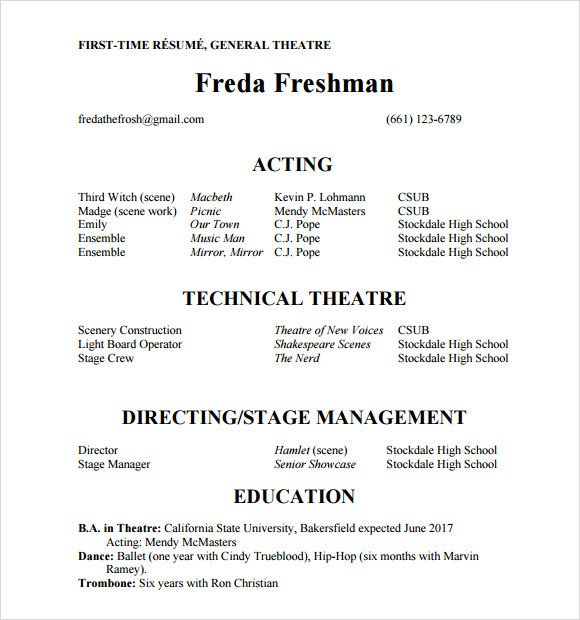 Beginner Actor Resume Template Acting Resume Template 19 Download In Pdf Word Psd