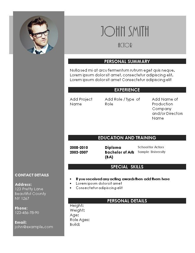 Beginner Actor Resume Template Acting Resume Template