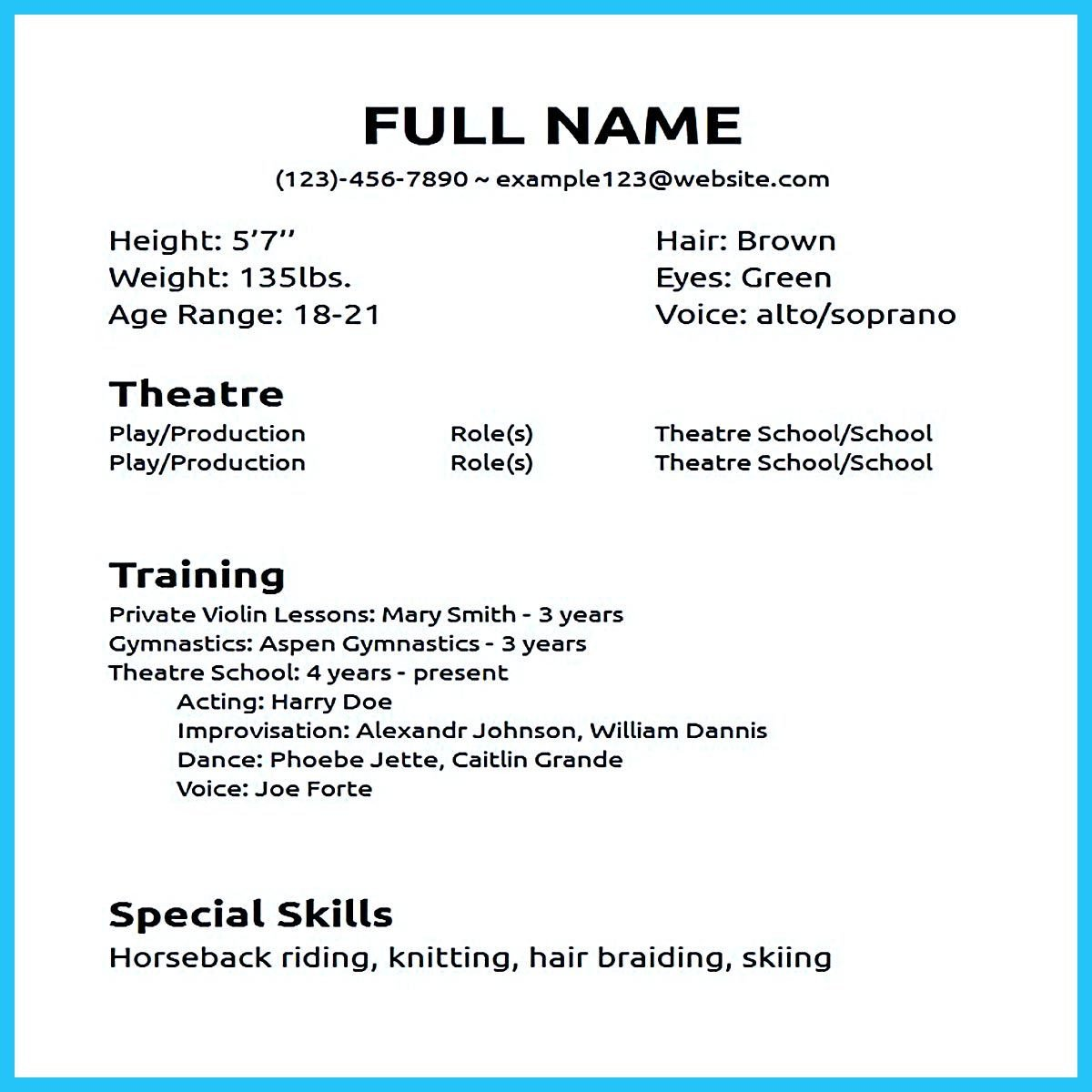Beginner Actor Resume Template Actor Resume Sample Presents How You Will Make Your