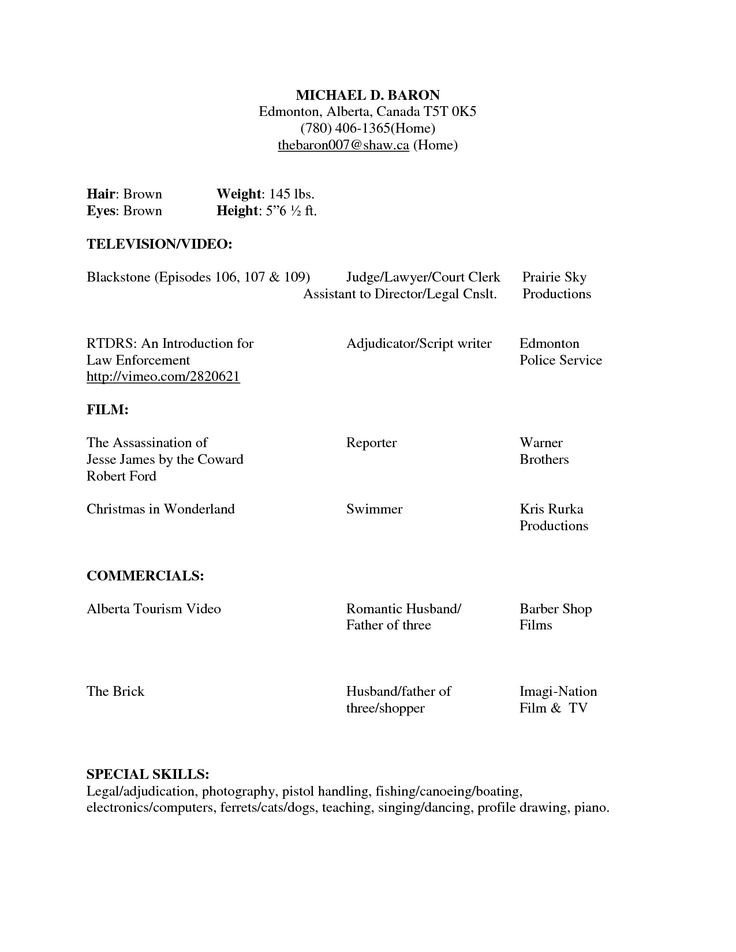 Beginner Actor Resume Template Beginner Acting Resume Sample Beginner Acting Resume