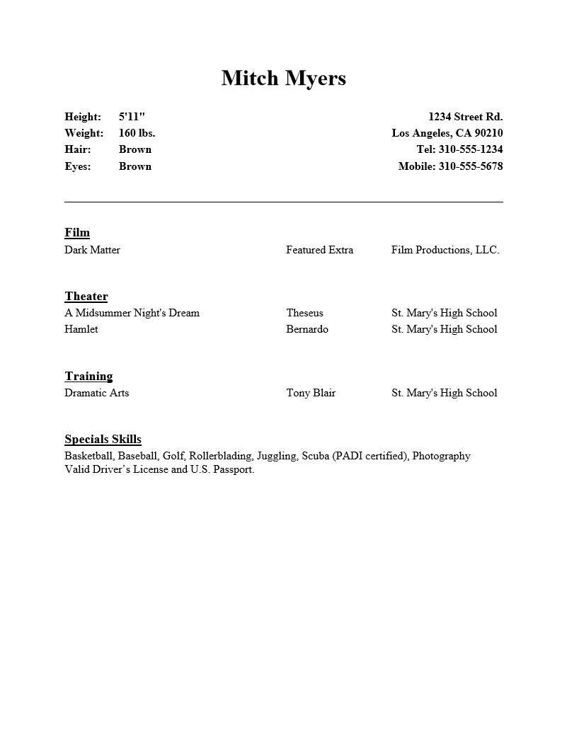 Beginner Actor Resume Template Free Beginner Acting Resume Sample