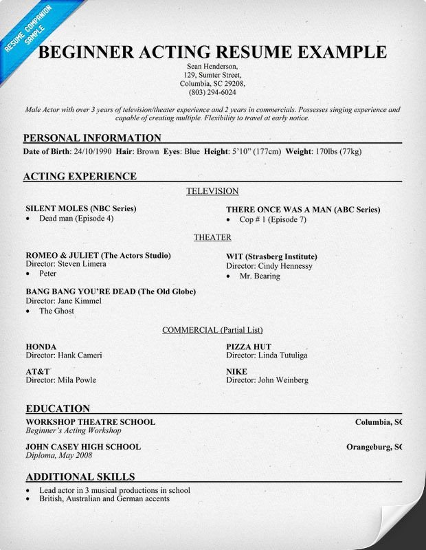 Beginner Actor Resume Template Free Beginner Acting Resume Sample Resume Panion