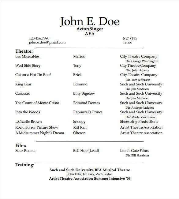 Beginner Actor Resume Template How to Create A Good Acting Resume Template