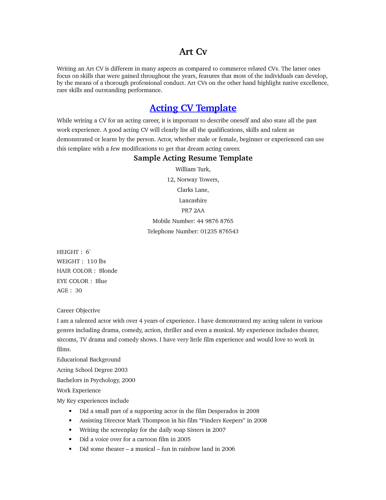 Beginner Actor Resume Template Pin Oleh Jobresume Di Resume Career Termplate Free