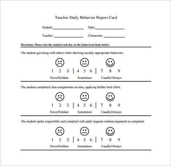 Behavior Charts for Teachers Behavior Chart Template – 12 Free Sample Example format