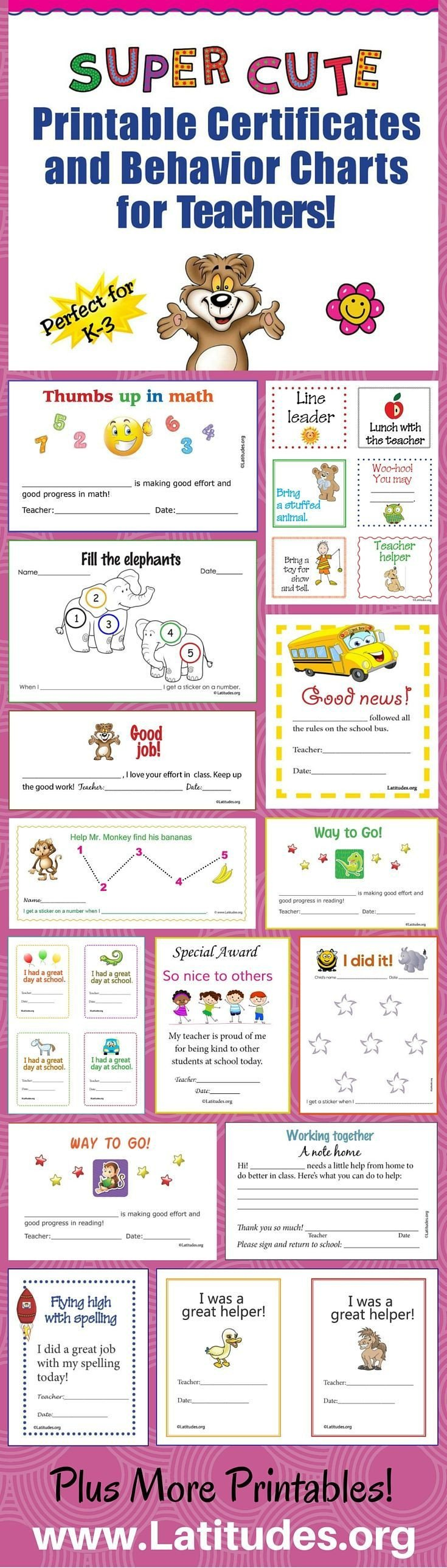 Behavior Charts for Teachers Free Super Cute Printable Certificates and Behavior Charts