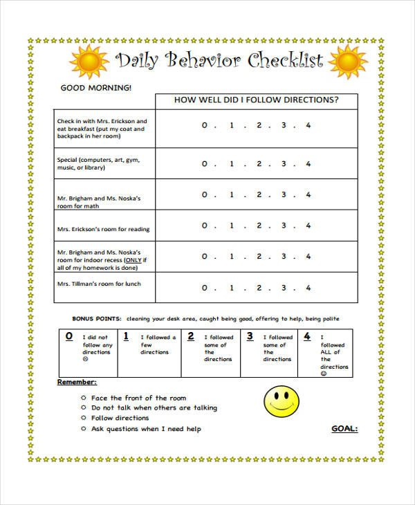 Behavior Checklist for Students 10 Behavior Checklist Templates Free Pdf Word format