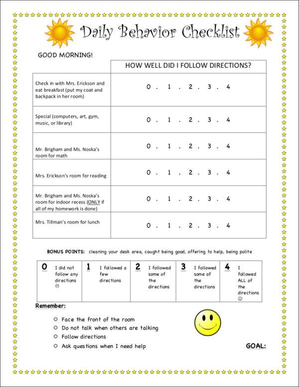 Behavior Checklist for Students 16 Behavior Checklist Samples & Templates Free Pdf