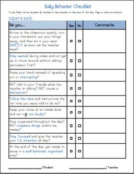Behavior Checklist for Students Adhd Daily Elementary Stude by Dot
