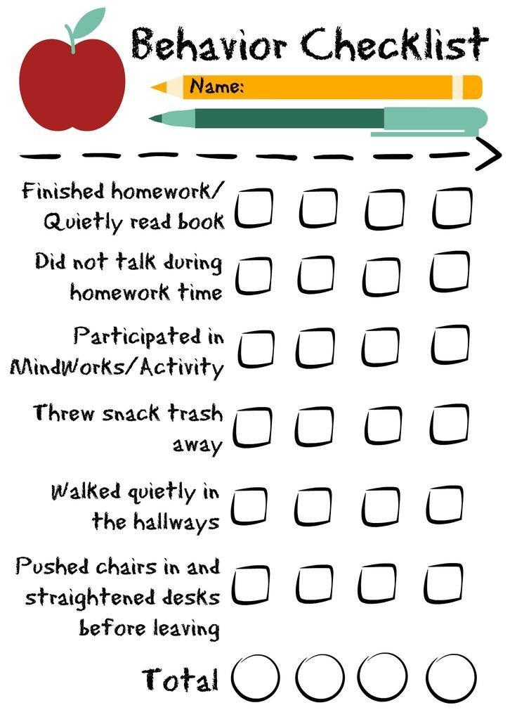Behavior Checklist for Students Behavior Checklist for the Classroom Good for Students In