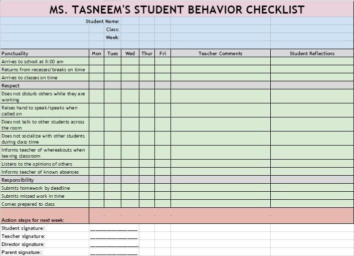 Behavior Checklist for Students Checklist to Monitor High School Students Behavior that
