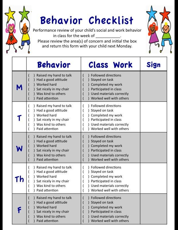 Behavior Checklist for Students My Weekly Behavior Checklist for Students social and