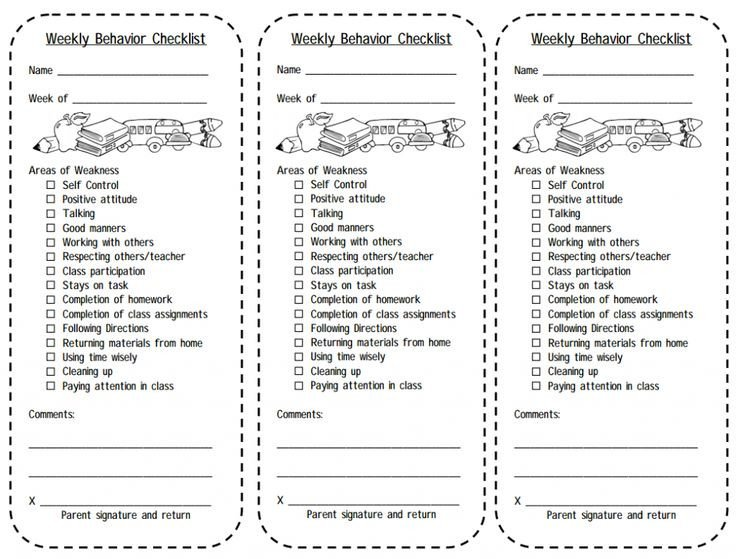 Behavior Checklist for Students Print This Weekly Behavior Checklist for Students Balance