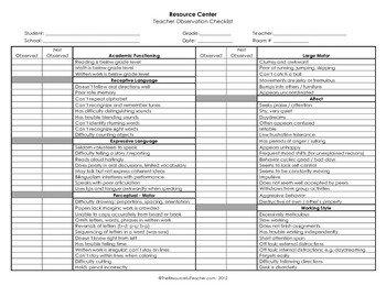 Behavior Checklist for Students Student Observation Checklist 1 Teacher or Administrator