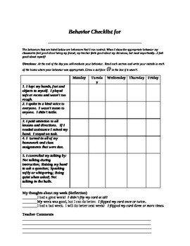 Behavior Checklist for Students Student Self assessment Daily Behavior Checklist by John