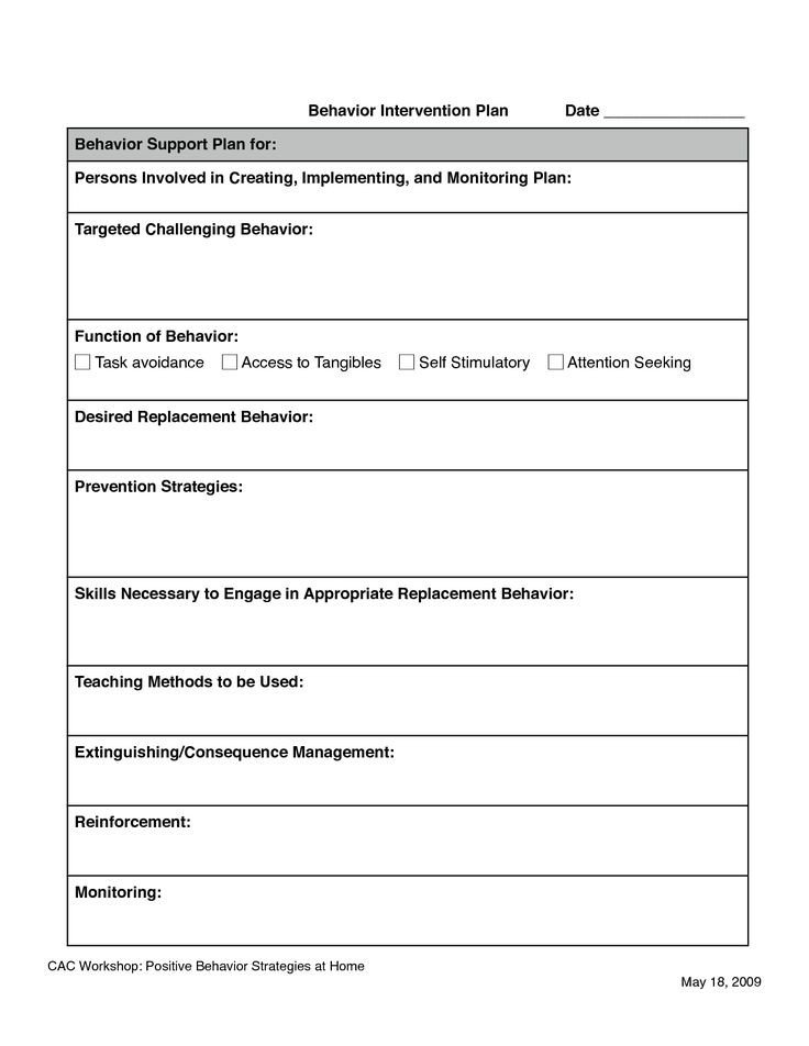 Behavior Intervention Plan Example 11 Best Images About Fba Documents On Pinterest