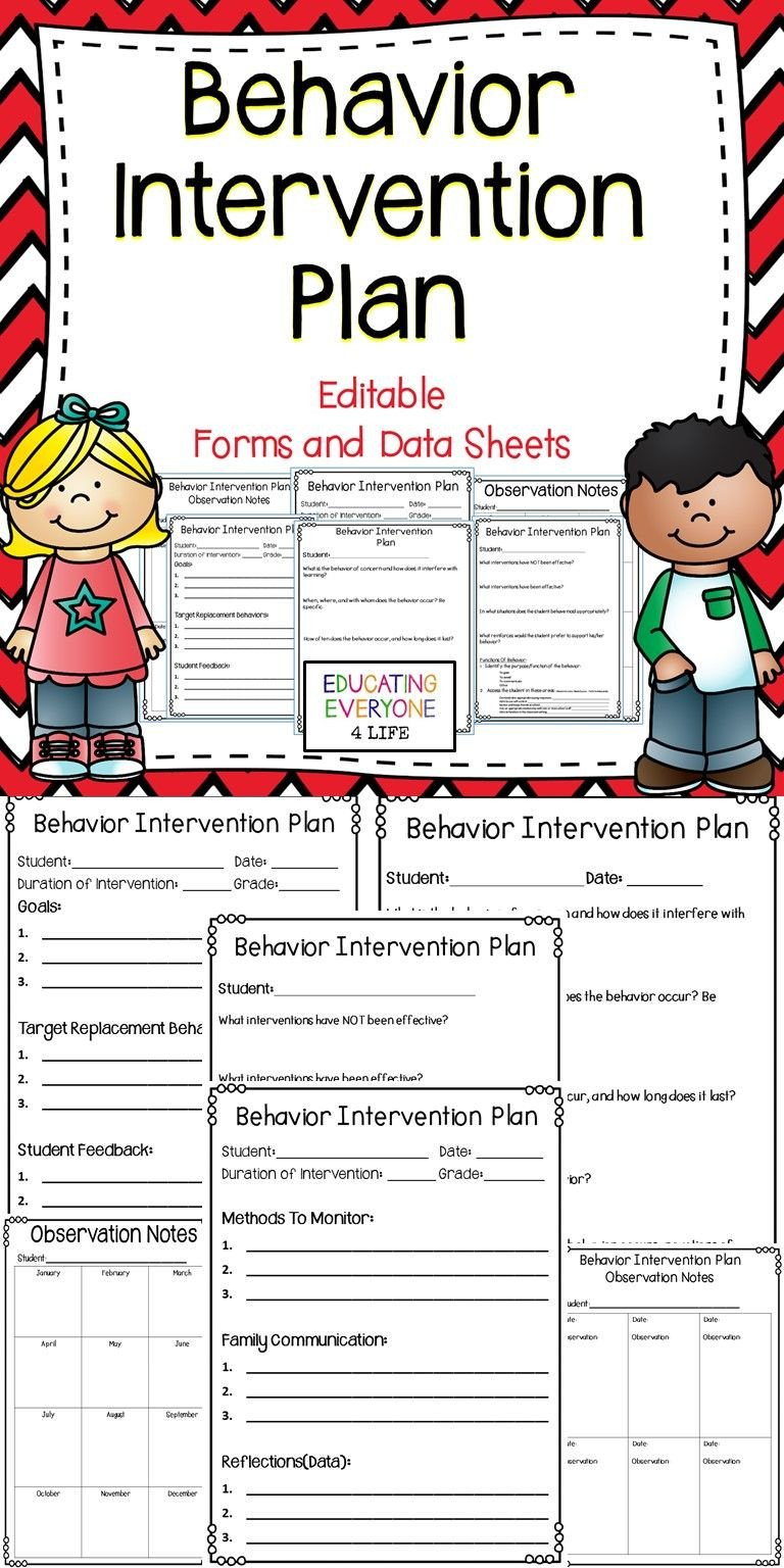 Behavior Intervention Plan Example Behavior Intervention Plan Editable forms and Data Sheets
