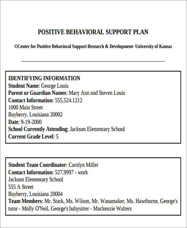 Behavior Intervention Plan Template Behavior Intervention Plan Example 6 Examples In Word Pdf