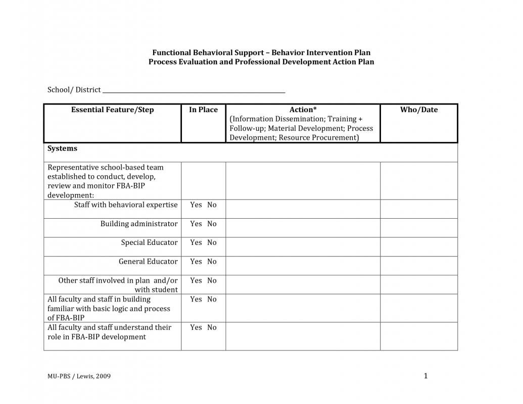 Behavior Intervention Plan Template Behavior Intervention Plan