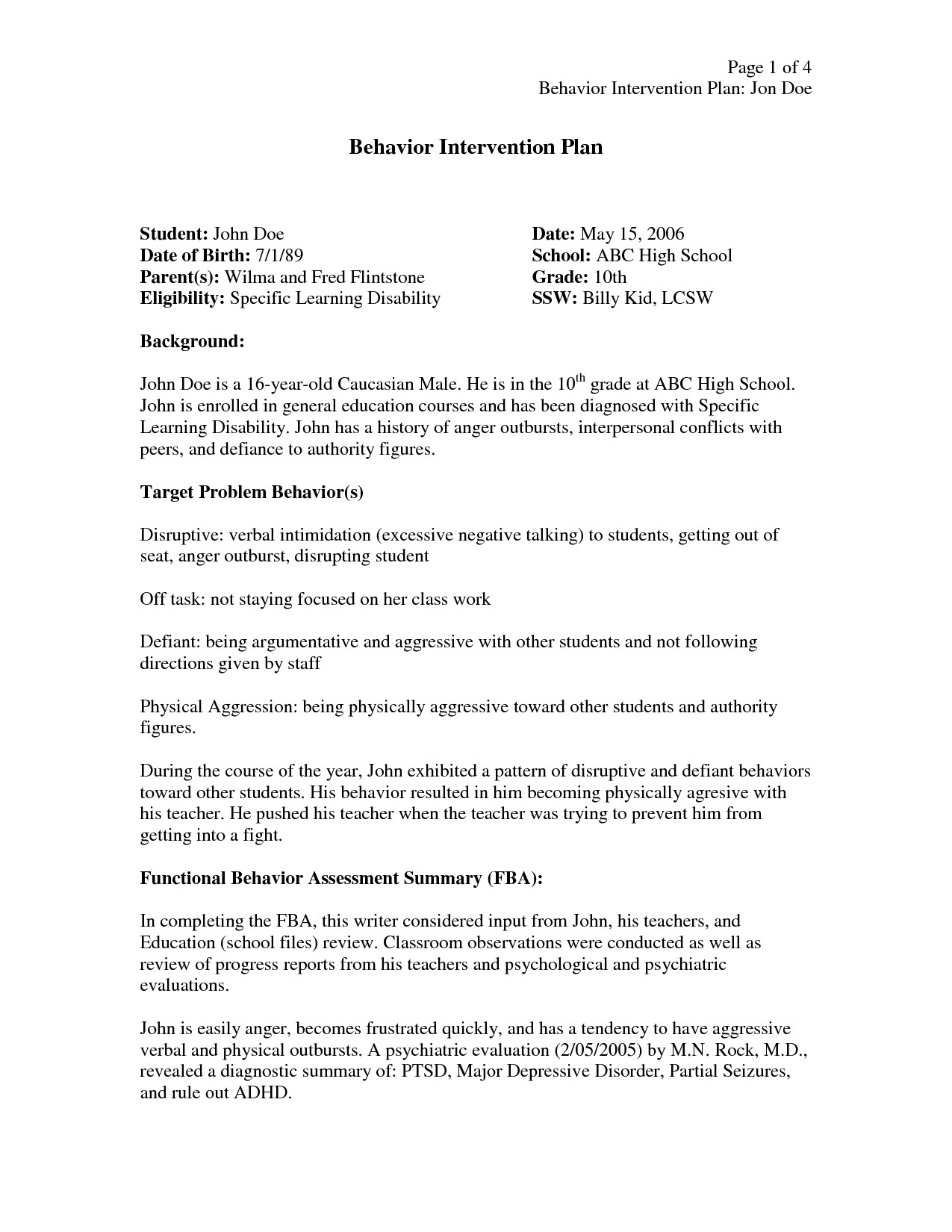 Behavior Intervention Plan Template Behavior Intervention Plan Template