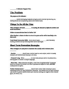 Behavior Intervention Plan Template Informal Behavior Intervention Plan Template by Joshua