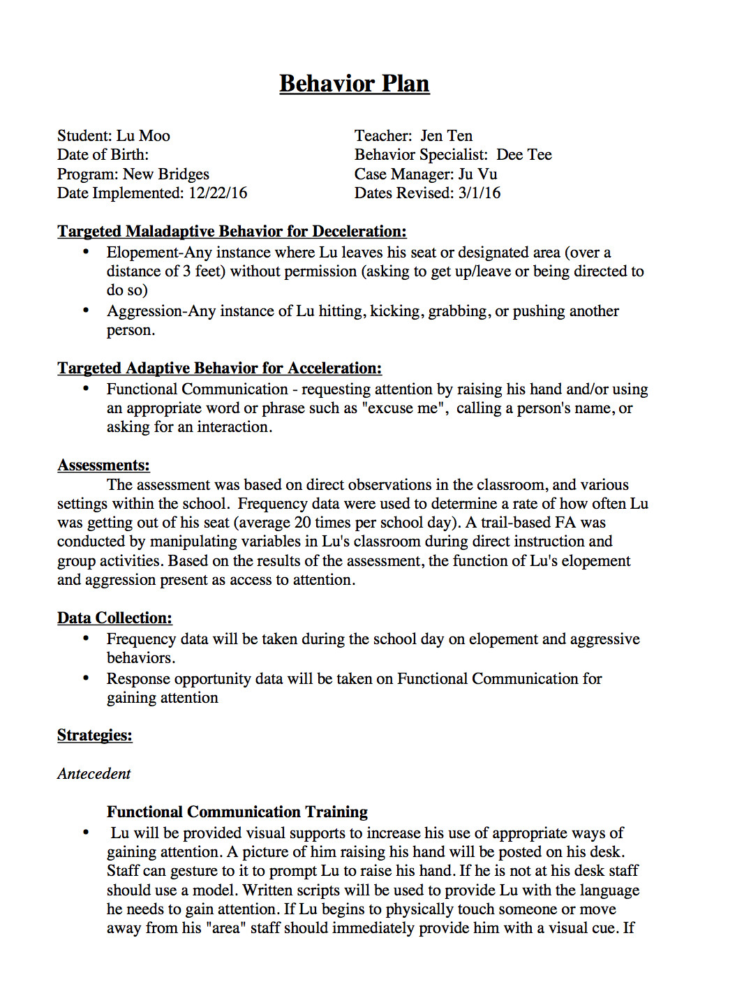 Behavior Modification Plan Example Sample Behavior Intervention Plan Template
