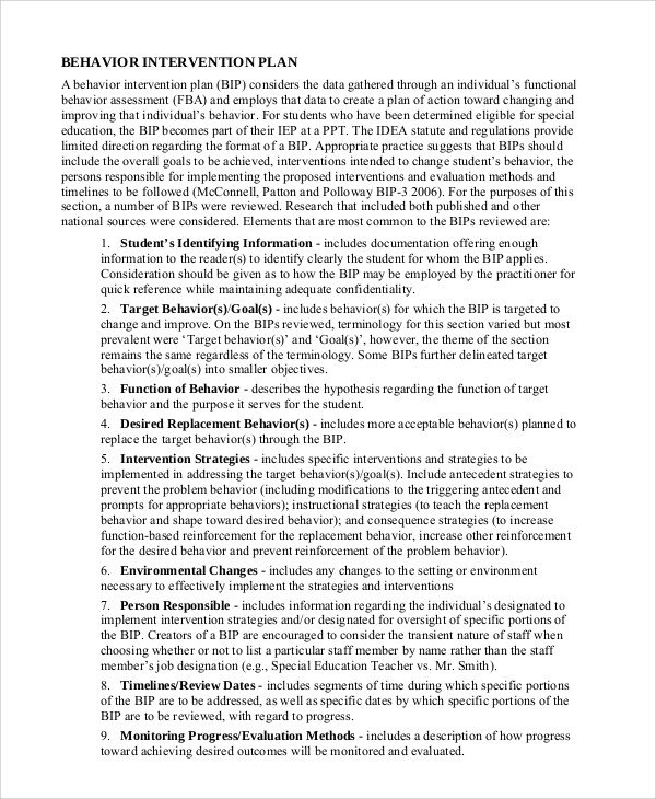 Behavior Modification Plan Example Sample Plan 43 Examples In Word Pdf