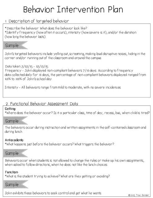 Behavior Modification Plan Example the Bender Bunch Creating A Behavior Intervention Plan Bip