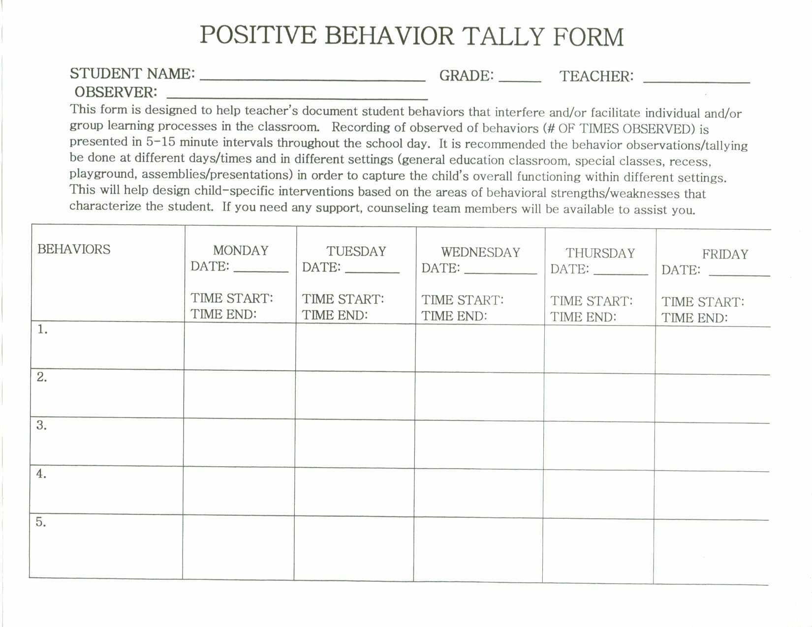 Behavior Tally Sheet Template 28 Of Behavior Tally Sheet Template