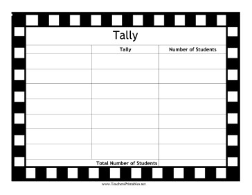 Behavior Tally Sheet Template Blank Tally Chart