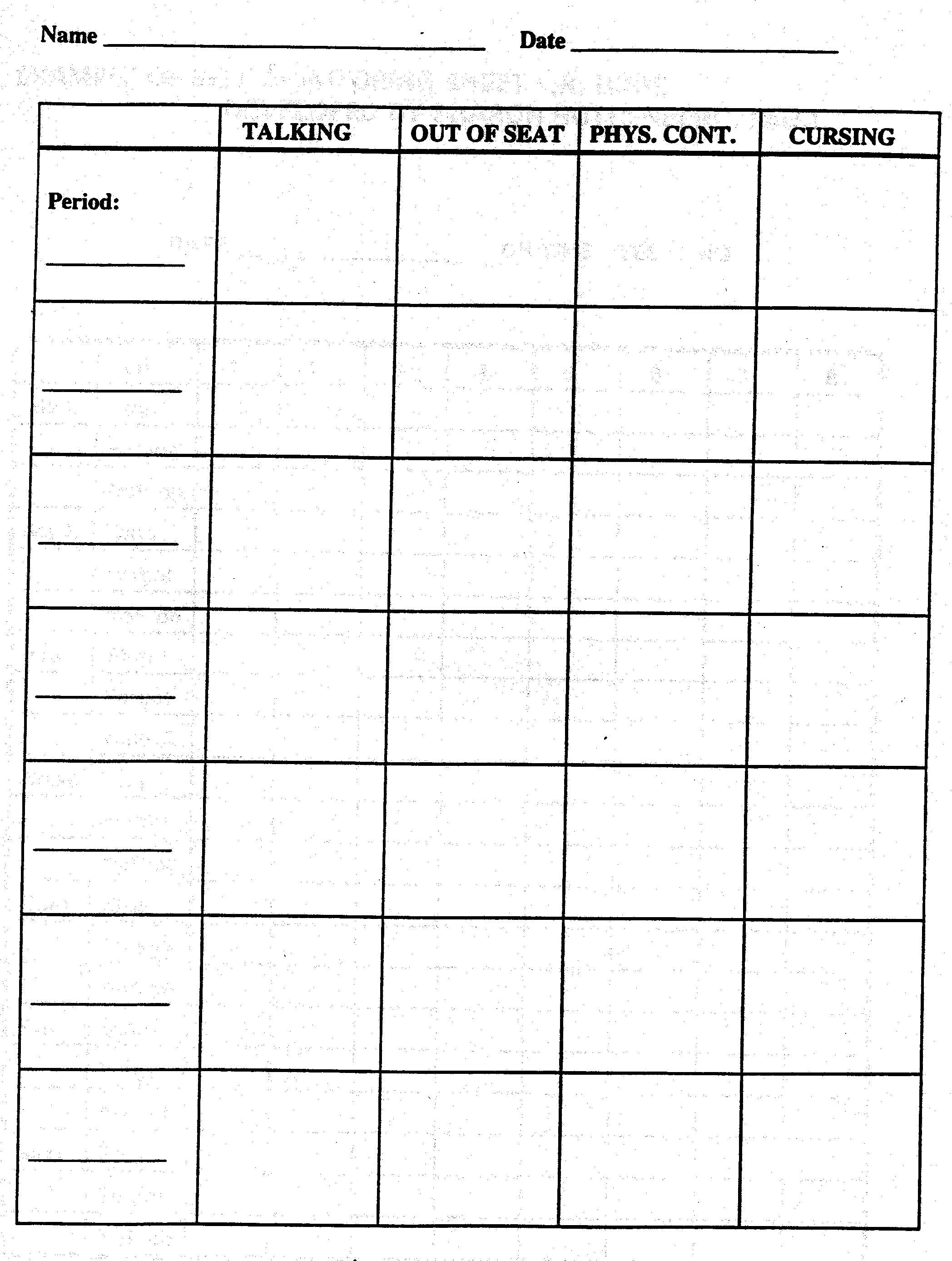 Behavior Tally Sheet Template Chart Template Category Page 166 Efoza