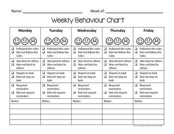 Behavior Tally Sheet Template Weekly Behaviour Chart Kit Uk English