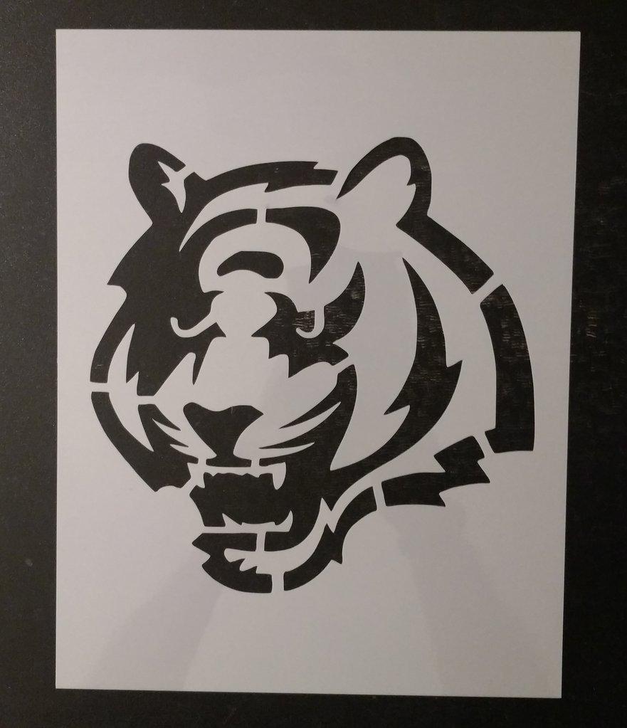 Bengals Pumpkin Carving Stencils Cincinnati Bengals Tiger Cat Face Custom Stencil – My