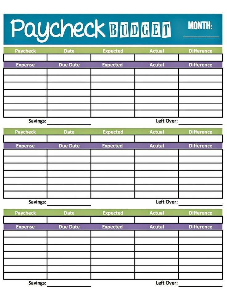 Bi Weekly Budget Bud Worksheet Printable