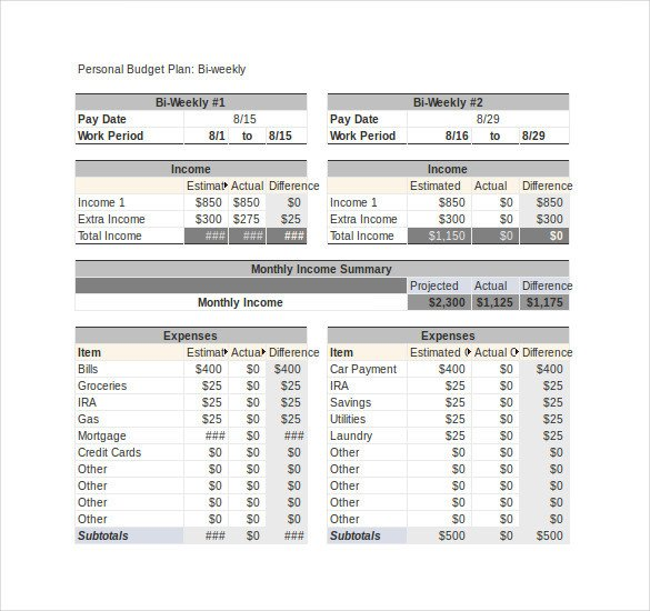 Bi Weekly Budget Excel Template 13 Weekly Bud Templates Free Sample Example format