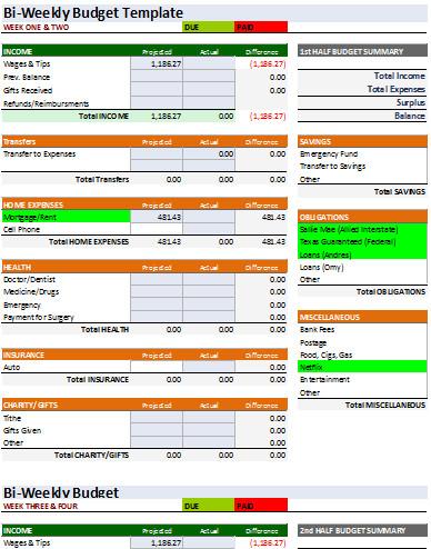 Bi Weekly Budget Excel Template 7 Bi Weekly Bud Templates