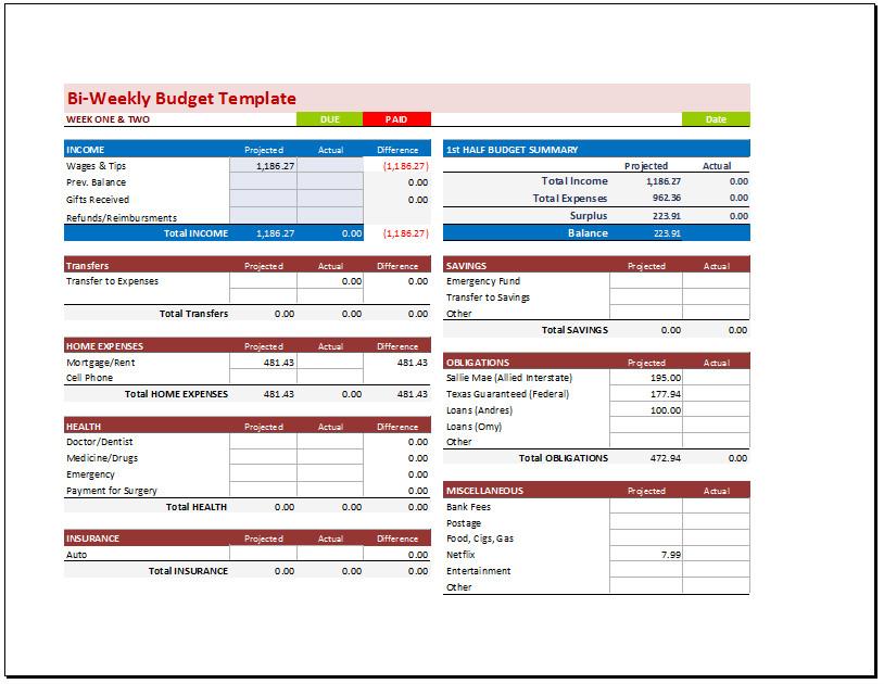 Bi Weekly Budget Excel Template Bi Weekly Bud Planner Template Bud Templates