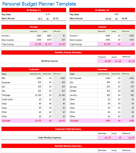 Bi Weekly Budget Excel Template Document Templates October 2015