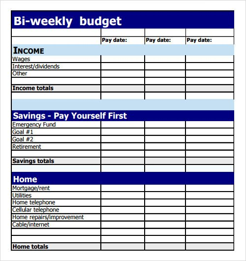 Bi Weekly Budget Excel Template Sample Bud 8 Documents In Pdf Excel