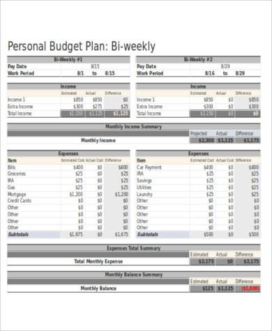 Bi Weekly Budget Excel Template Sample Personal Bud Spreadsheet 10 Examples In Word