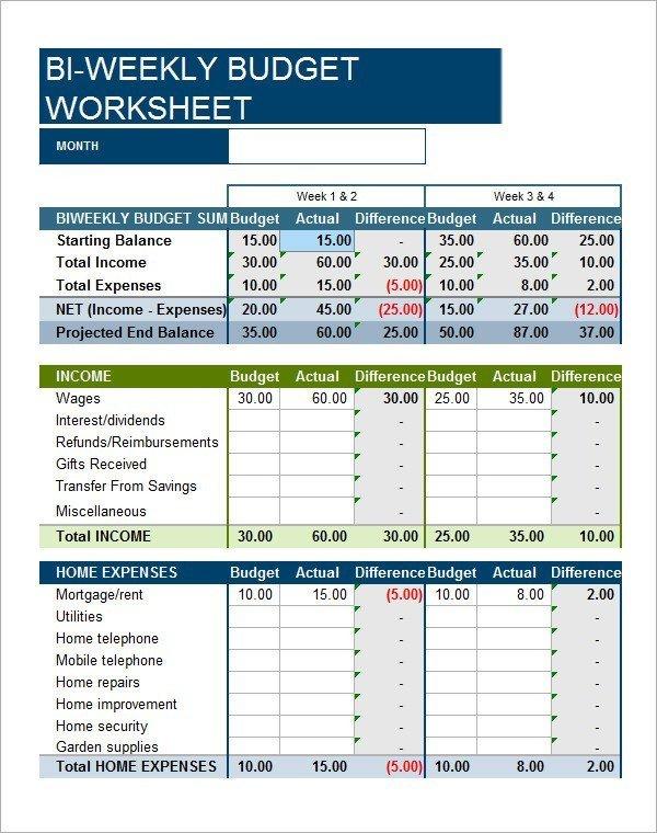 Bi Weekly Budget Worksheet 23 Free Bi Weekly Bud Templates Ms Fice Documents